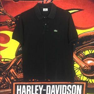 Lacoste Polo Shirt Black Croc Size 4 Medium